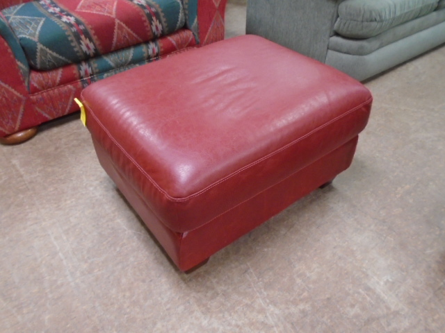 Red Leather Footstool