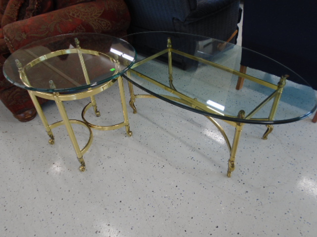 Heavy Brass Coffee and End Table