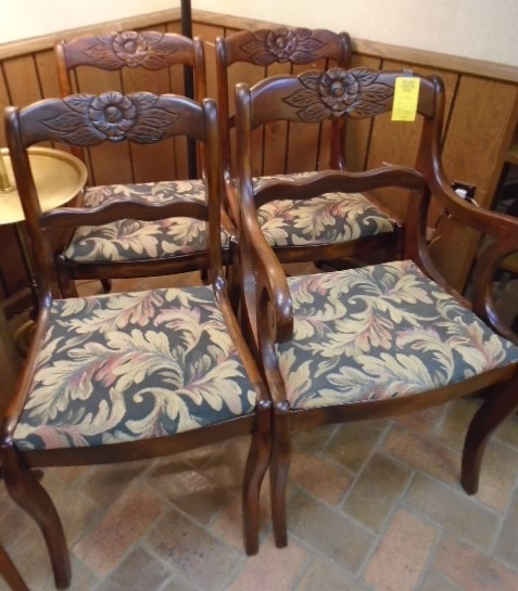 Set of 4 Carved Wood Chairs